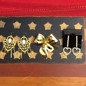 2 Gold Tone Earrings and Gold Tone Pin